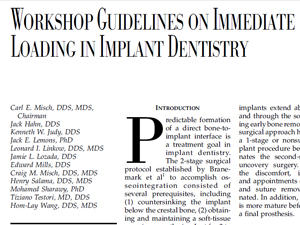 Workshop Guidelines on Immediate Loading in Implant Dentistry