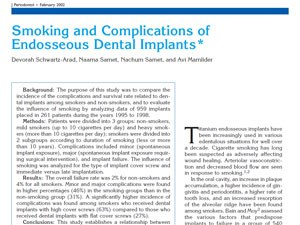 Smoking and Complications of Endosseous Dental Implants