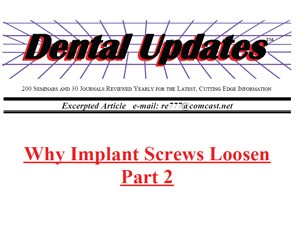 Loose Implant Screws-Part 2